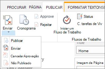 Enviar, publicar botões na guia Publicar no modo de edição.