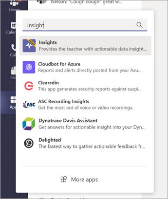 Selecione o ícone aplicativos da barra de aplicativos no Microsoft Teams e, em seguida, selecione o resultado do insights