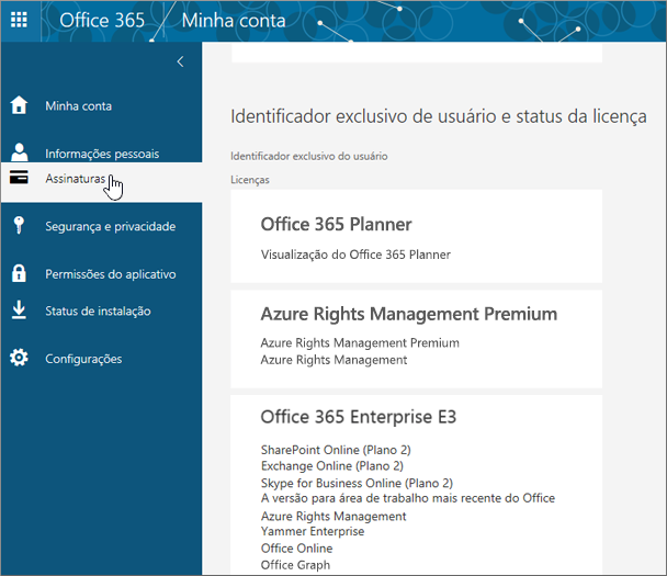 Página Assinaturas do Office 365