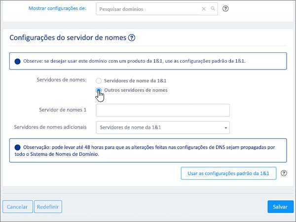 Escolhendo outros servidores de nomes na seção configurações de servidor de nome