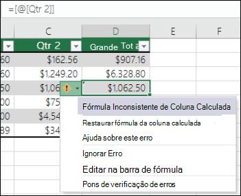 Notificação de erros de fórmula inconsistente em uma tabela do Excel