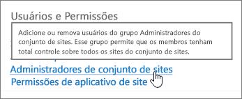 Administradores de conjunto de sites realçados em usuários e permissões