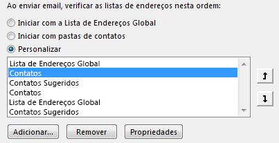 Use as setas para definir a ordem de acesso ao Catálogo de Endereços no Outlook.