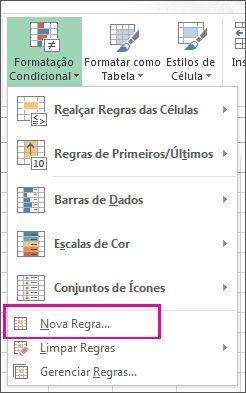 Botão Formatação Condicional na guia Página Inicial