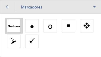 Comando Marcadores, mostrando opções de formatação