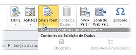 Menu do SharePoint na faixa de opções do SharePoint Designer 2010