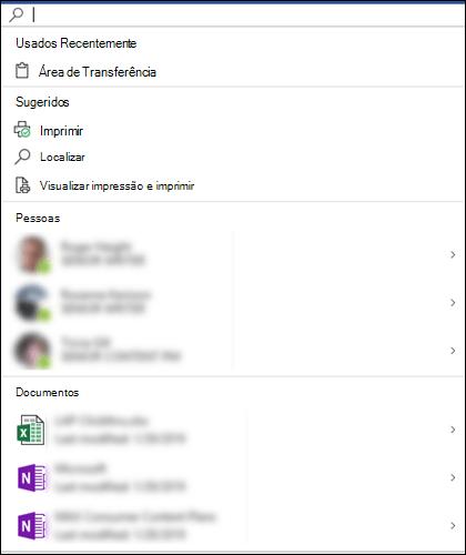 Caixa de Pesquisa da Microsoft selecionada