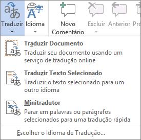 Ferramentas de tradução disponíveis nos programas do Office