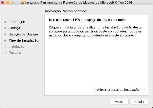 Clique em Instalar na ferramenta para remover licenças.