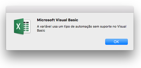 Erro do Microsoft Visual Basic: a variável usa um tipo de automação sem suporte no Visual Basic.