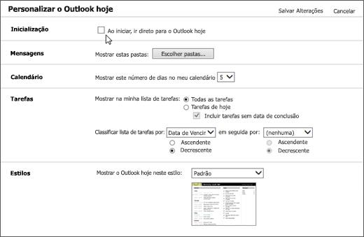 """Captura de tela do painel Personalizar Outlook hoje no Outlook, mostrando as opções disponíveis para inicialização, mensagens, calendário, tarefas e estilos. Cursor aponta para a caixa de seleção """"Ao iniciar, ir direto para Outlook hoje""""."""