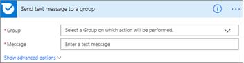 Captura de tela: Insira o nome do grupo e a mensagem que você deseja enviar