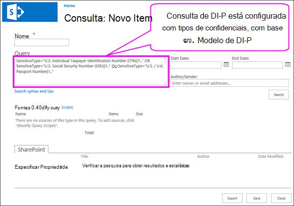 Consulta DLP que contém tipos de informações confidenciais