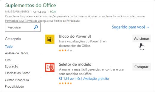 Captura de tela da página suplementos do Office, onde você pode selecionar ou pesquisar um suplemento do Excel.