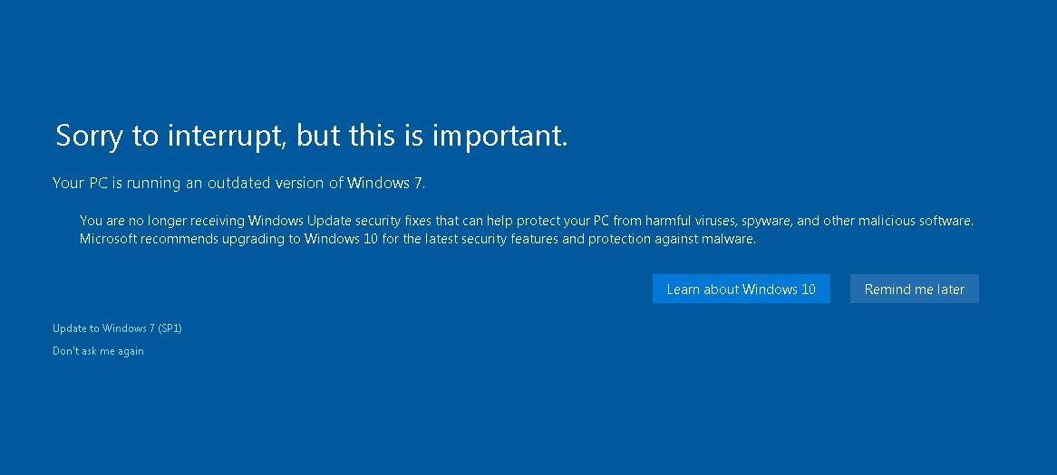 Seu computador está executando uma versão desatualizada do Windows 7.