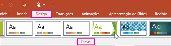 mostra os temas de design do PowerPoint