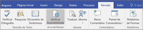 Botão do Verificador de Acessibilidade no Visio.