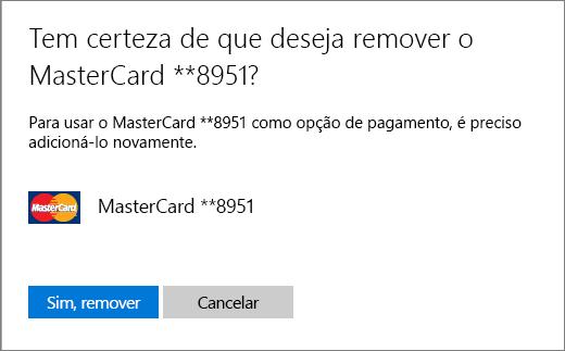 Página de verificação para remoção de um cartão de crédito.
