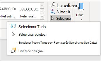 Selecionar opções no menu página inicial