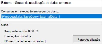Caixa de diálogo Status de Atualização de Dados Externos
