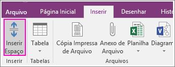 Captura de tela do botão Inserir Espaço no OneNote 2016.