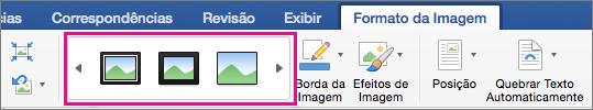 Na guia Formato da Imagem, a galeria Borda de Imagem é realçada.