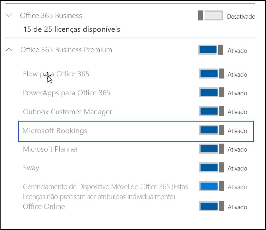 Captura de tela mostrando a configuração do Microsoft Bookings para ser desativada nas licenças de produto do usuário.