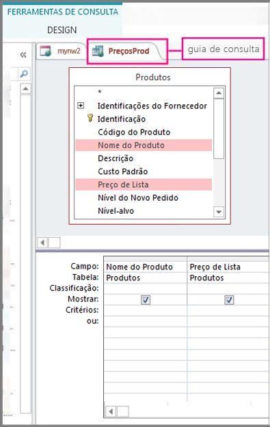 Modo de exibição do designer de consultas realçando a guia da consulta