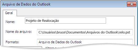 Caixa de diálogo Arquivo de Dados do Outlook