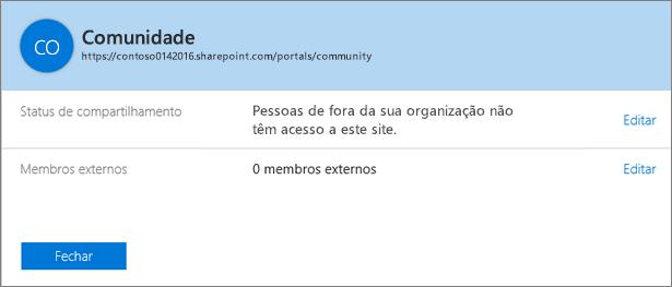 """Caixa de diálogo """"Status de compartilhamento"""" de um conjunto de sites específico com o compartilhamento desativado."""