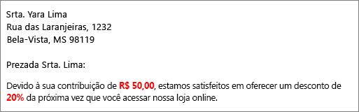 """O documento resultante da mala direta apresenta """"sua contribuição de $50,00"""" e """"oferece um desconto de 20%""""."""