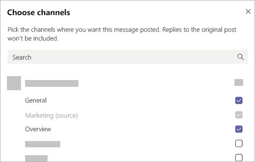 Escolha canais para postar uma mensagem no Microsoft Teams.