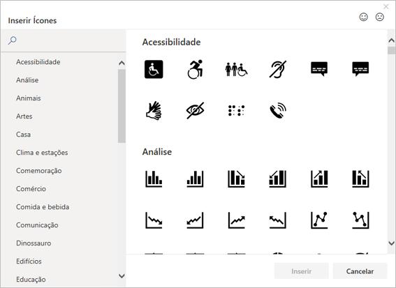 Você pode escolher um ícone para inserir na biblioteca de Ícone do Office
