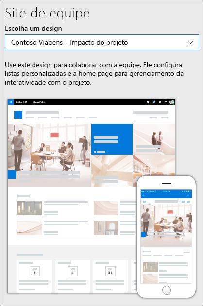 Escolha um design para o site de equipe
