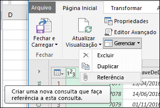 Power Query - menu de gerenciamento de consulta no Editor de consultas