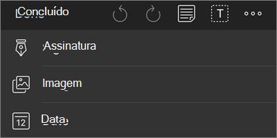 Mais opções para o menu de navegação de marcação do PDF do OneDrive for iOS