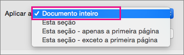 Aplica ao menu com o documento inteiro realçado.