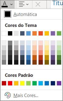 Captura de tela da opção de cor de fonte no menu Página Inicial.