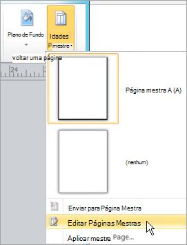 Selecionando Editar páginas mestras no menu de páginas mestras