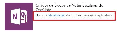 Captura de tela do link de atualização do Criador de Bloco de Anotações de Classe.
