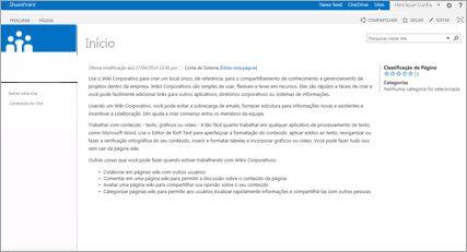 Modelo de Site de Wiki Corporativo