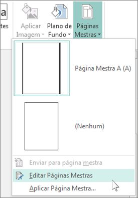 Captura de tela do menu suspenso Editar Páginas Mestras no Publisher.