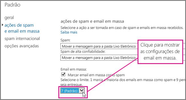 Definindo o filtro de email em massa no Exchange Online