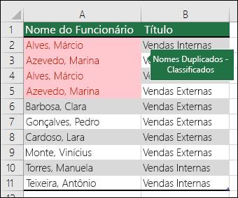 Formatação condicional com valores de duplicatas classificados ao topo de uma lista
