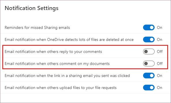 OneDrive Configurações de notificação