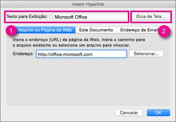 Caixa de diálogo Hiperlink do Office para Mac