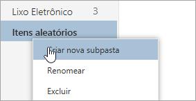 """Captura de tela do menu de contexto Pastas com a opção """"Criar nova subpasta"""" selecionada"""