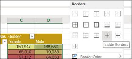 Imagem da aplicação de uma Borda Interna a um intervalo de células de Home > Font > Borders.
