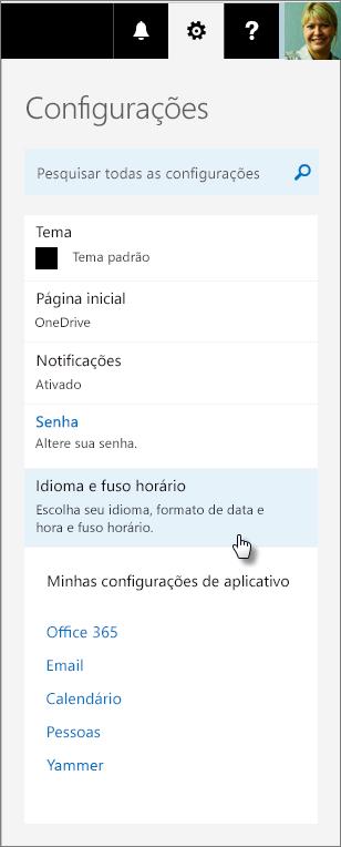 Painel de configurações do Office 365.