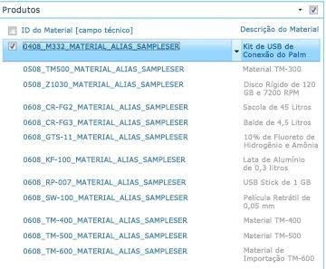O site de Produtos mostra uma lista dos produtos em sua biblioteca do SAP.